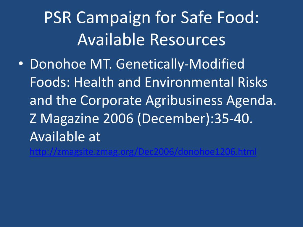 PSR Campaign for Safe Food: Available Resources