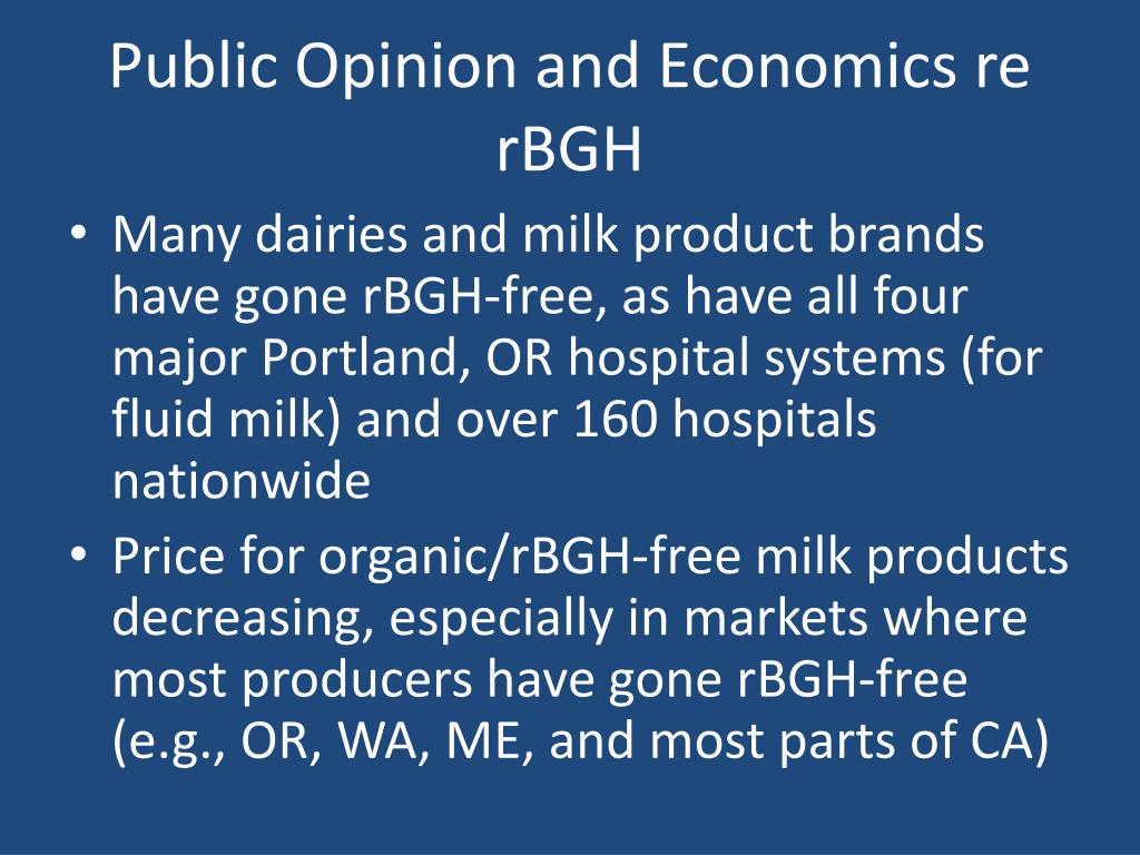 Public Opinion and Economics re rBGH