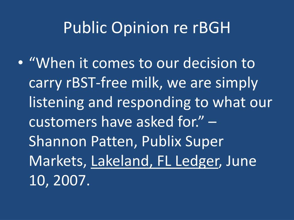 Public Opinion re rBGH