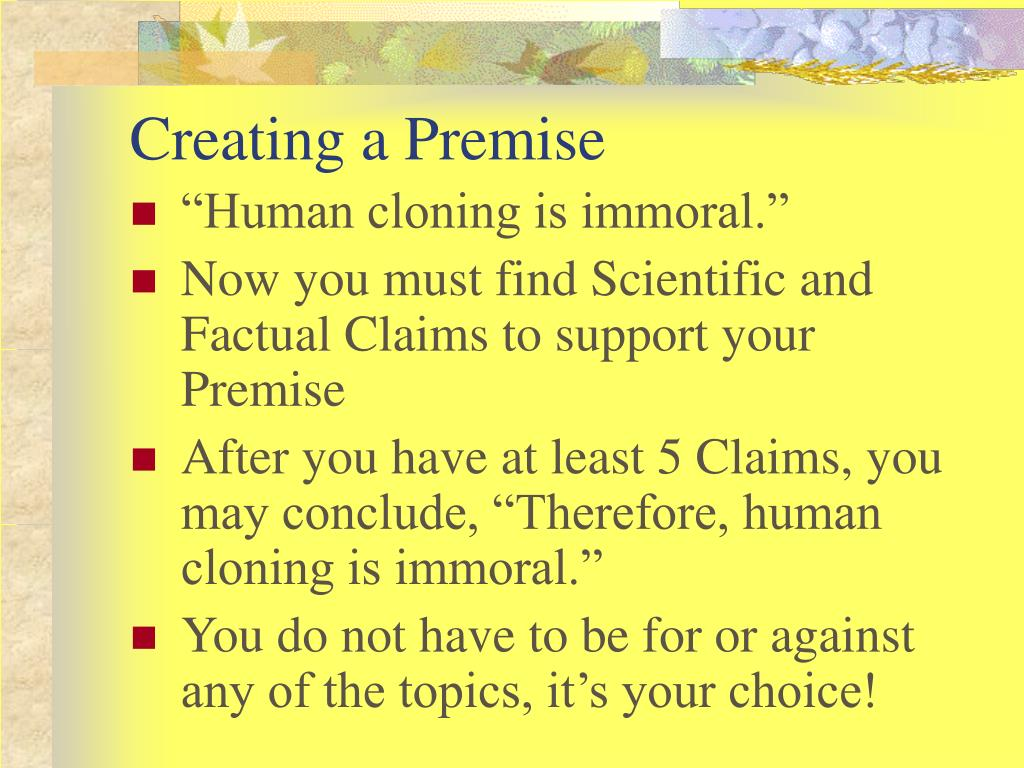 Creating a Premise