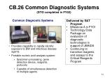 cb 26 common diagnostic systems dto completed in fy02