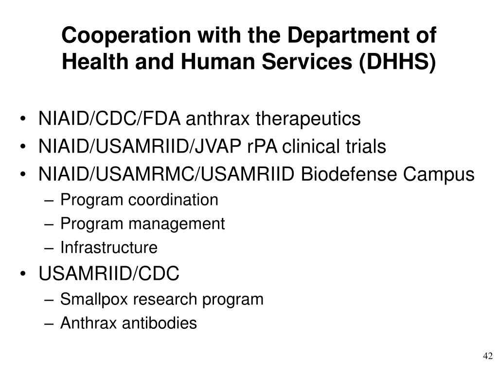 Cooperation with the Department of Health and Human Services (DHHS)