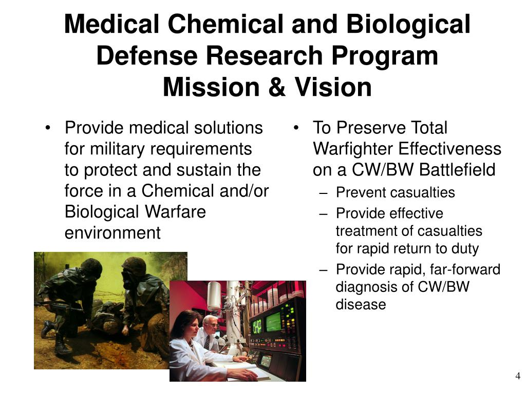 Provide medical solutions for military requirements to protect and sustain the force in a Chemical and/or Biological Warfare  environment