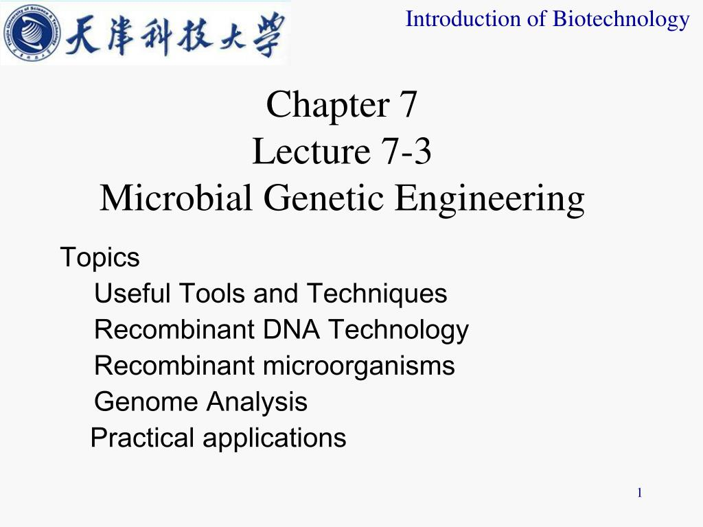 chapter 7 lecture 7 3 microbial genetic engineering