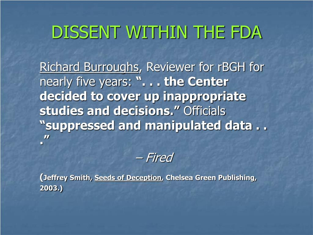 DISSENT WITHIN THE FDA