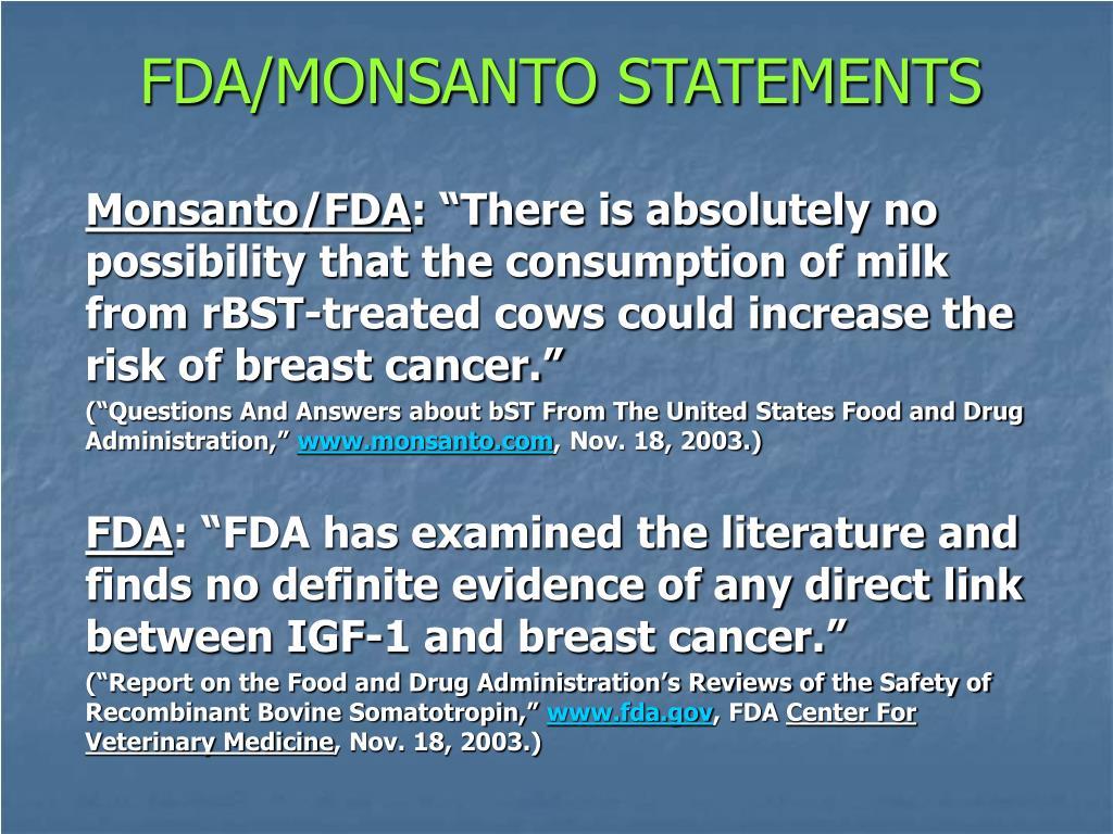 FDA/MONSANTO STATEMENTS
