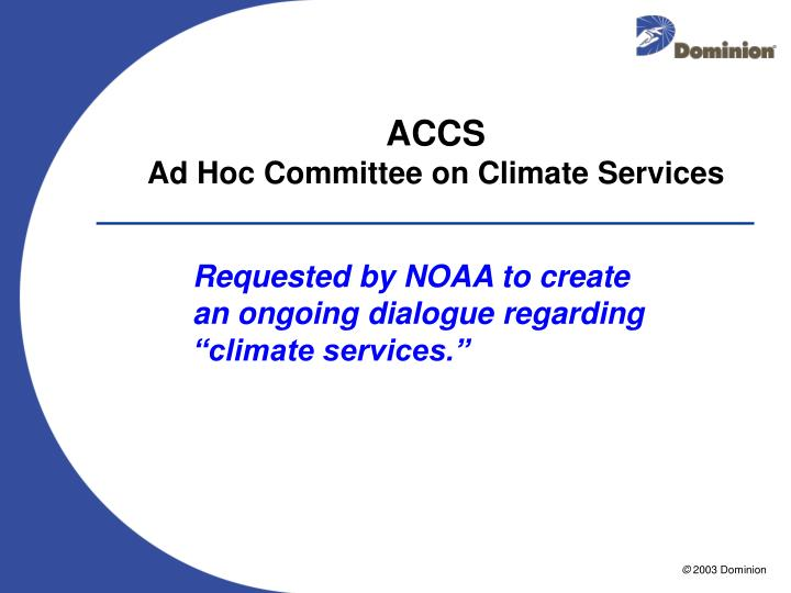 Accs ad hoc committee on climate services
