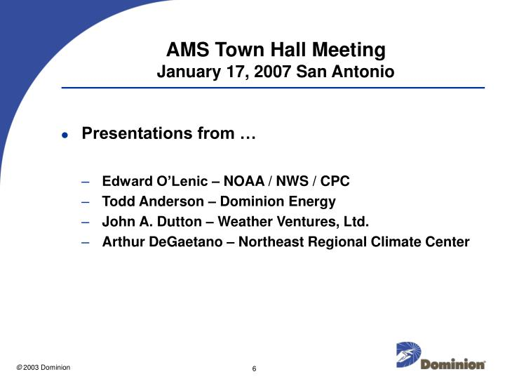 AMS Town Hall Meeting