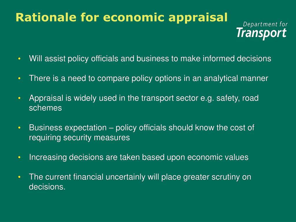 Rationale for economic appraisal