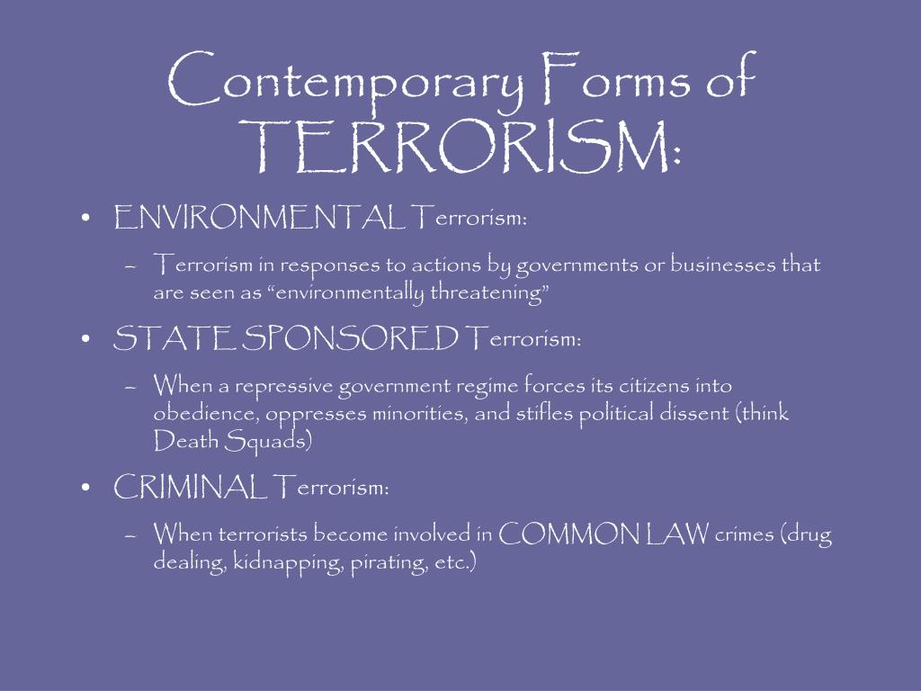 Contemporary Forms of TERRORISM: