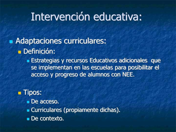 Intervención educativa: