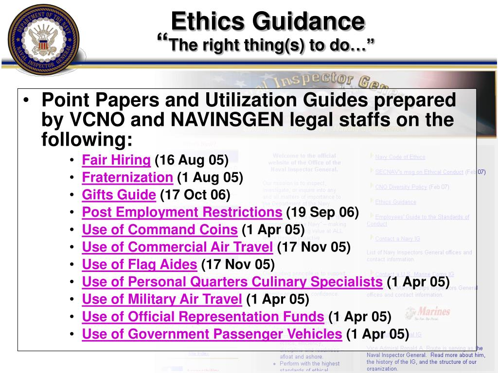 Ethics Guidance