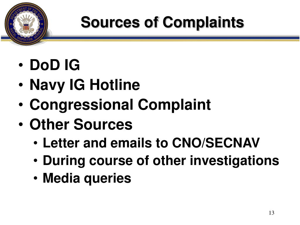 Sources of Complaints