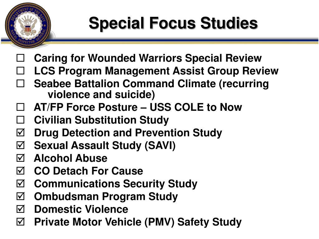 Special Focus Studies