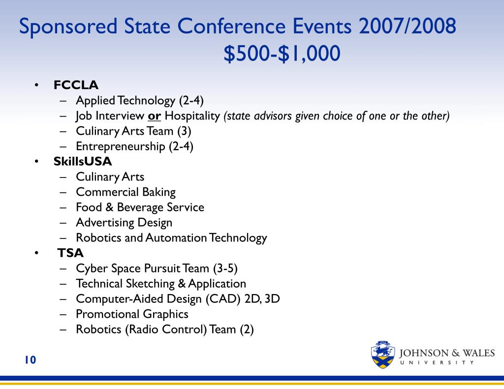 Sponsored State Conference Events 2007/2008