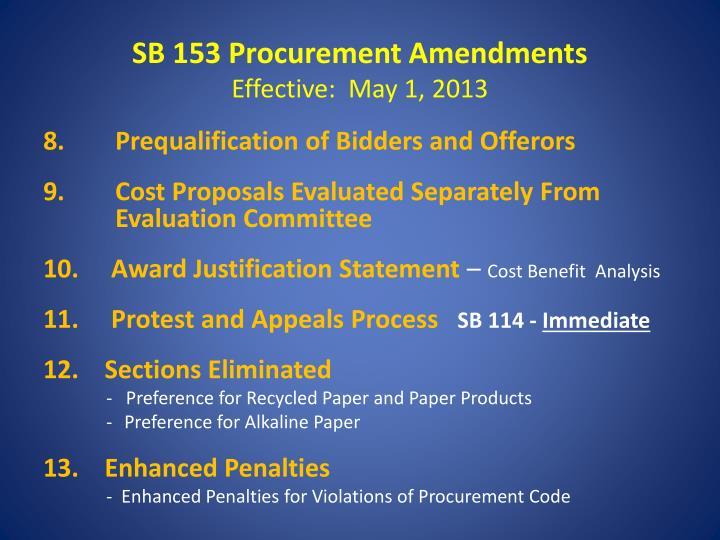 SB 153 Procurement Amendments