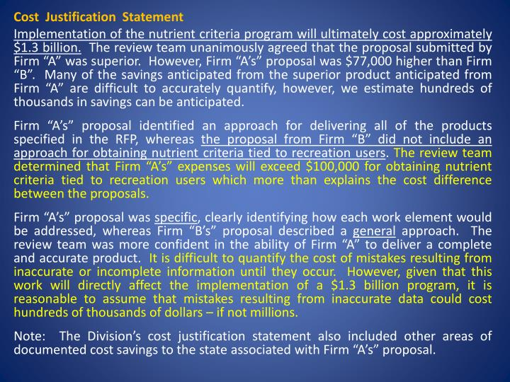 Cost  Justification  Statement