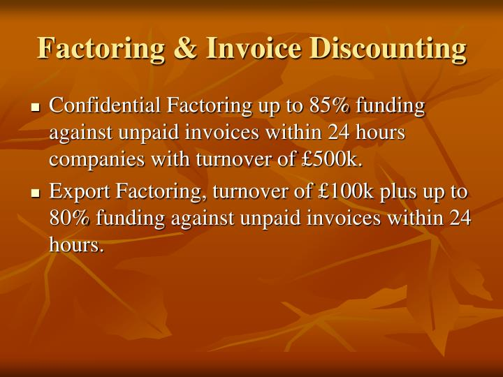 Factoring invoice discounting