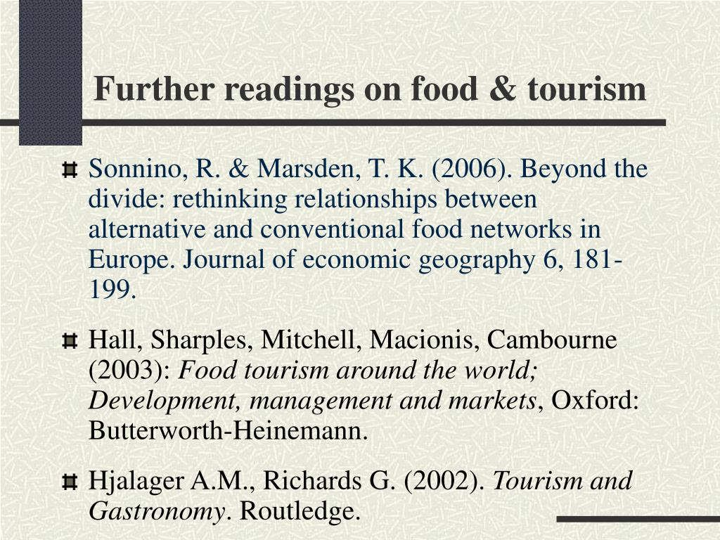 Further readings on food & tourism