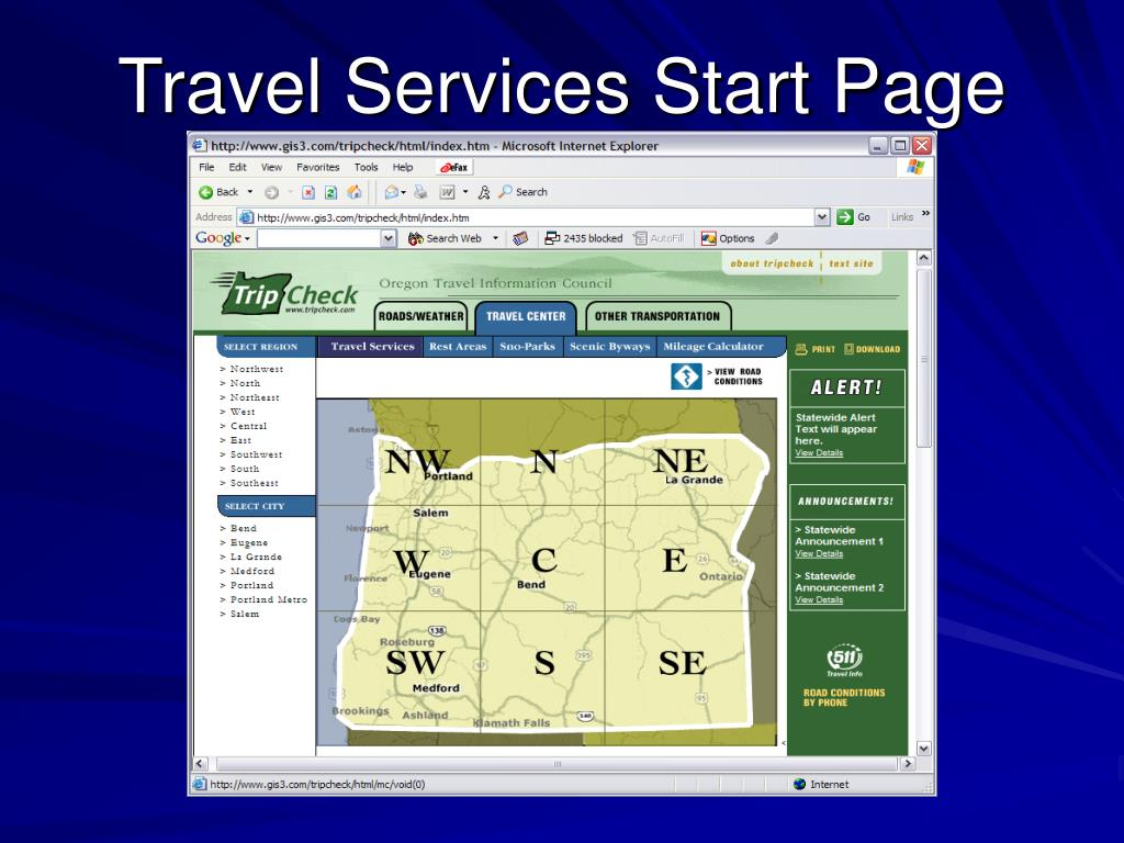 Travel Services Start Page