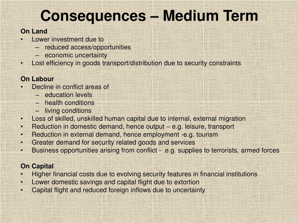 Consequences – Medium Term