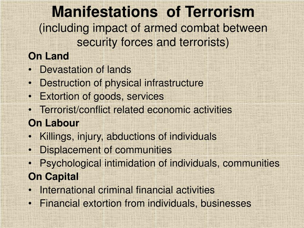 Manifestations  of Terrorism
