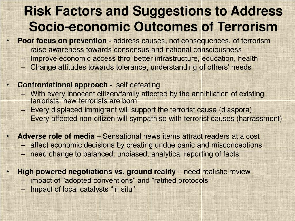 Risk Factors and Suggestions to Address Socio-economic Outcomes of Terrorism