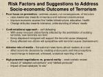 risk factors and suggestions to address socio economic outcomes of terrorism