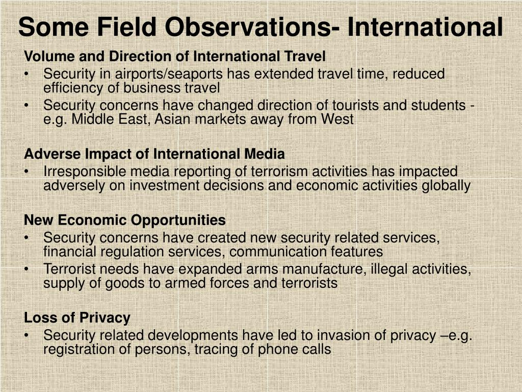 Some Field Observations- International