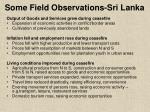 some field observations sri lanka