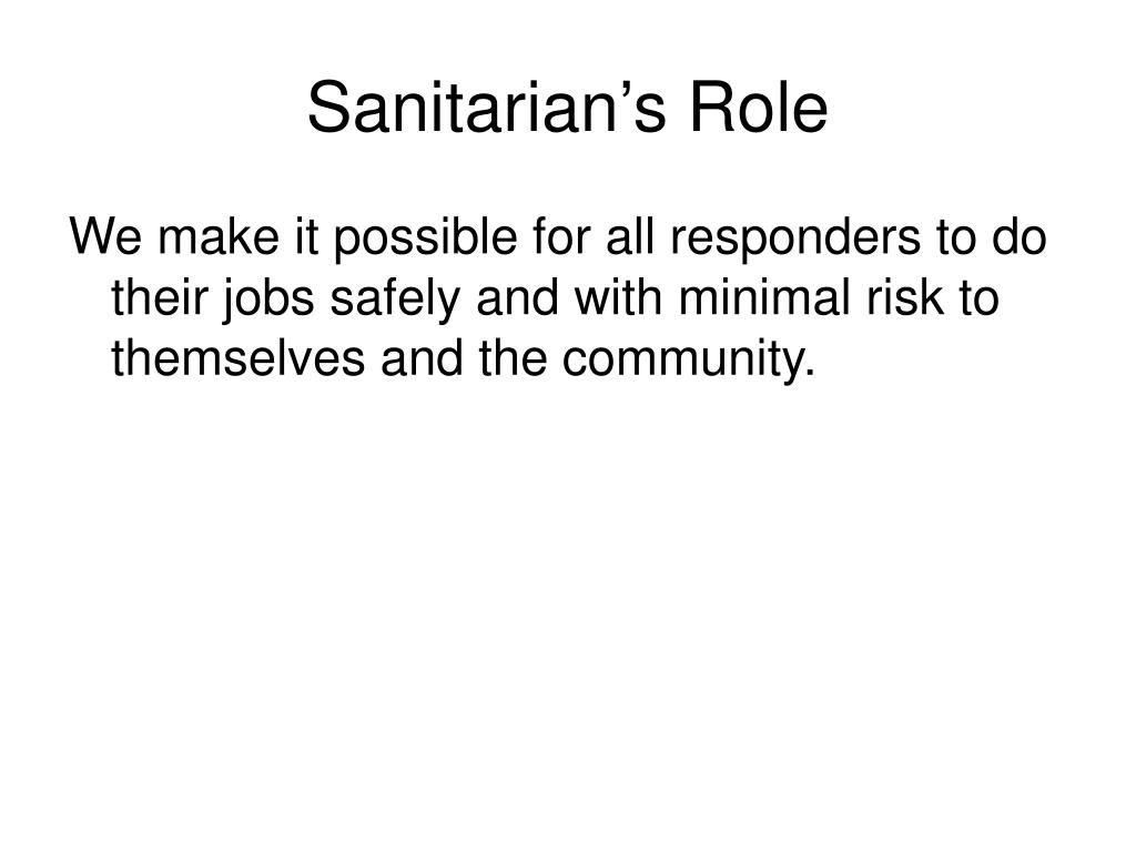 Sanitarian's Role