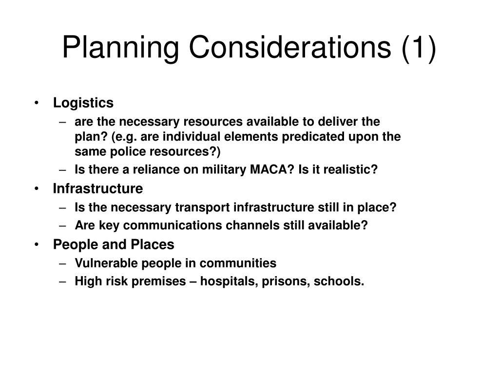 Planning Considerations (1)