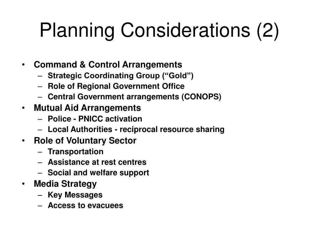 Planning Considerations (2)