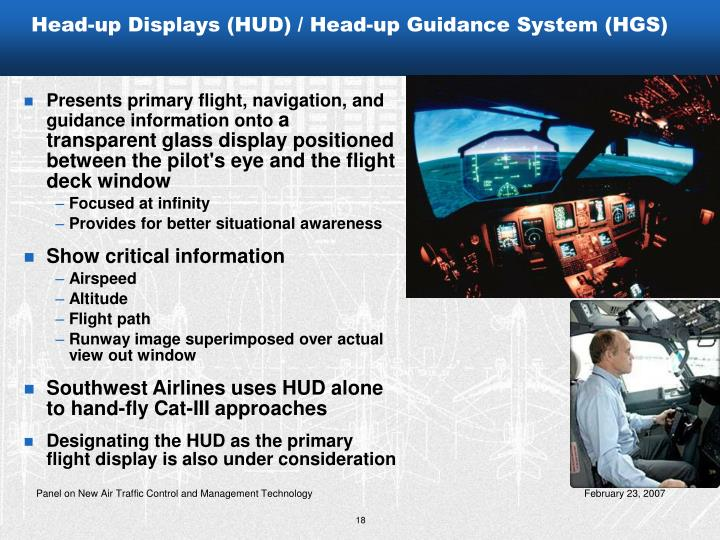 Head-up Displays (HUD) / Head-up Guidance System (HGS)