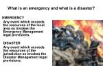 what is an emergency and what is a disaster