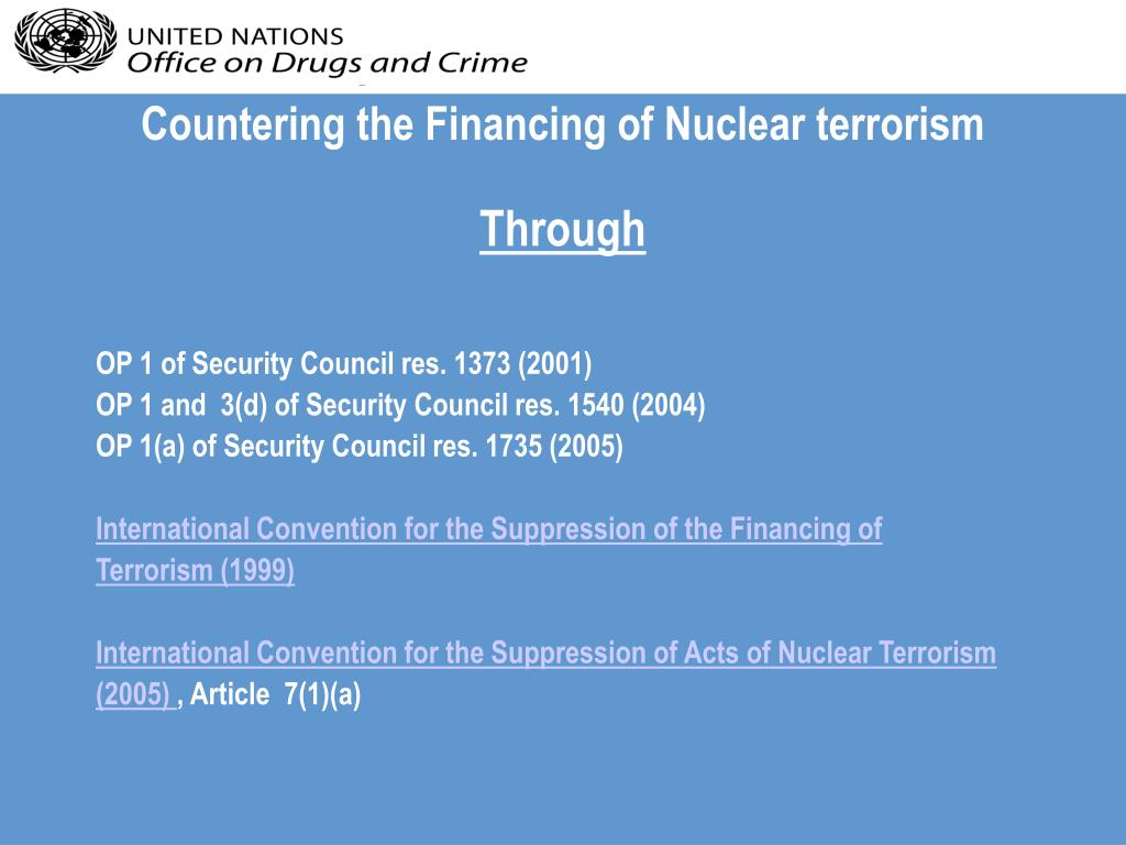 Countering the Financing of Nuclear terrorism