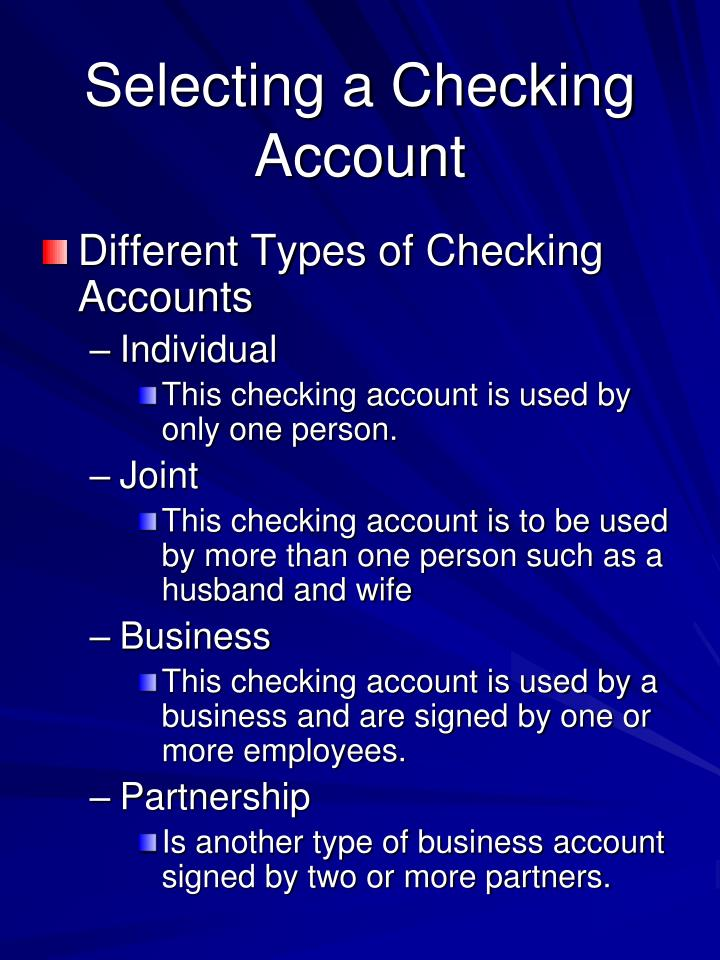 Selecting a Checking Account