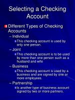 selecting a checking account