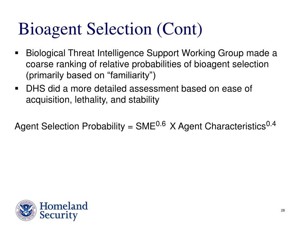 Bioagent Selection (Cont)