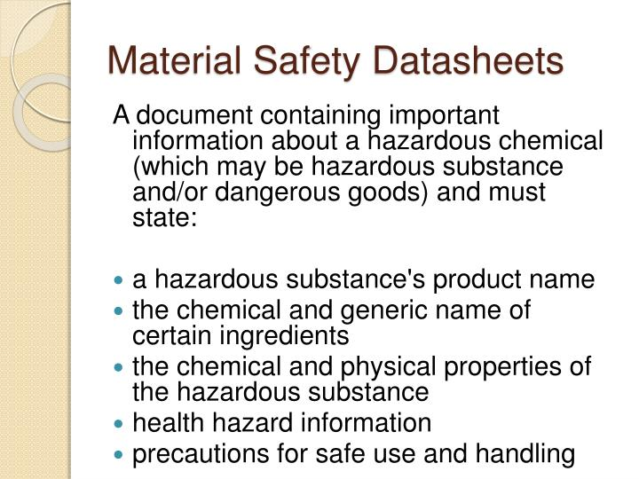 Material Safety Datasheets