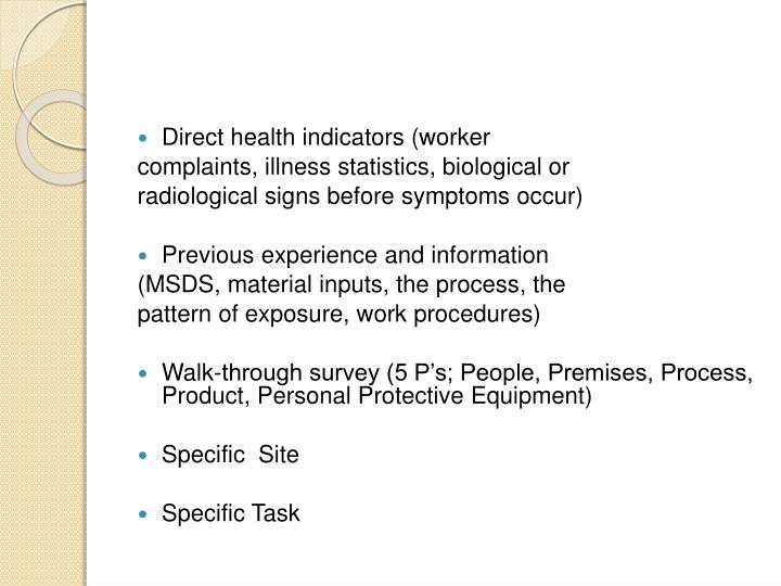 Direct health indicators (worker
