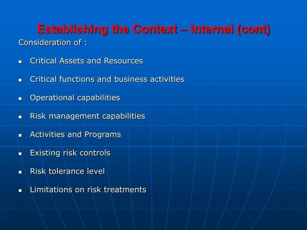 Establishing the Context – Internal (cont)