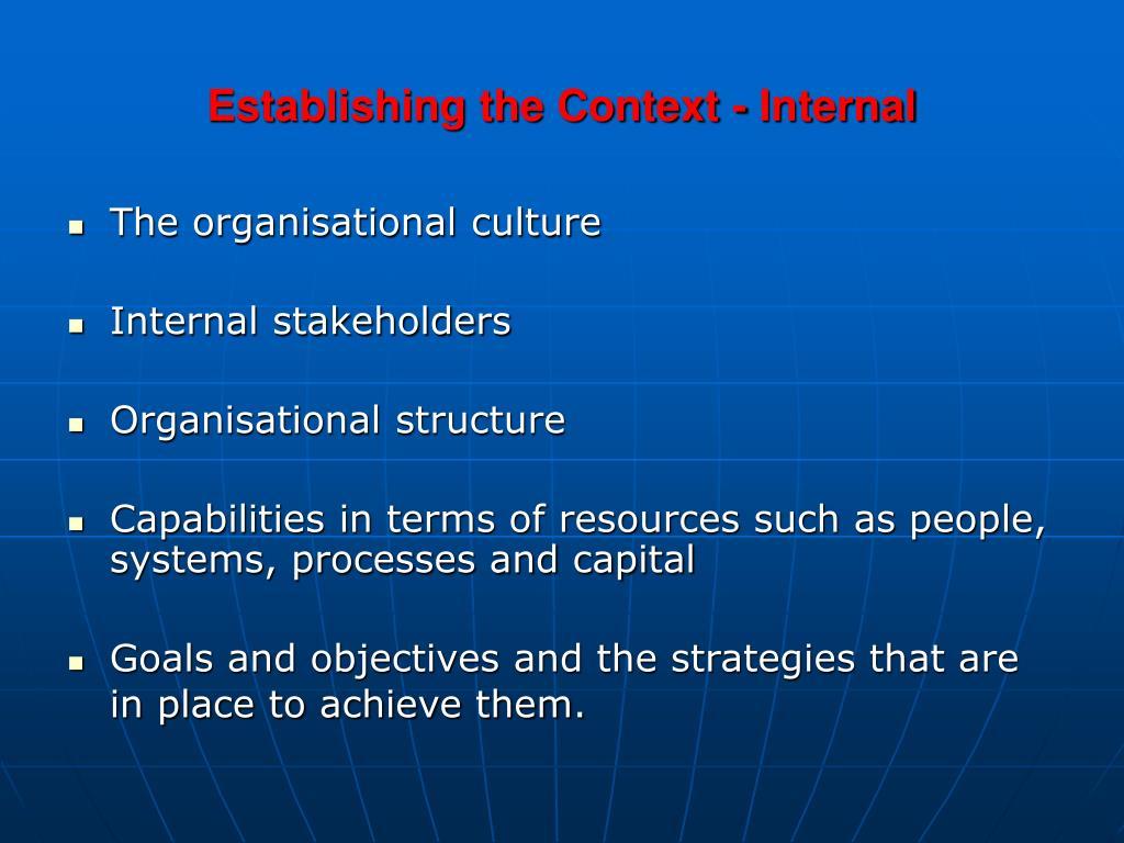Establishing the Context - Internal