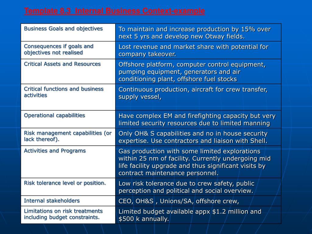 Template 8.3  Internal Business Context-example