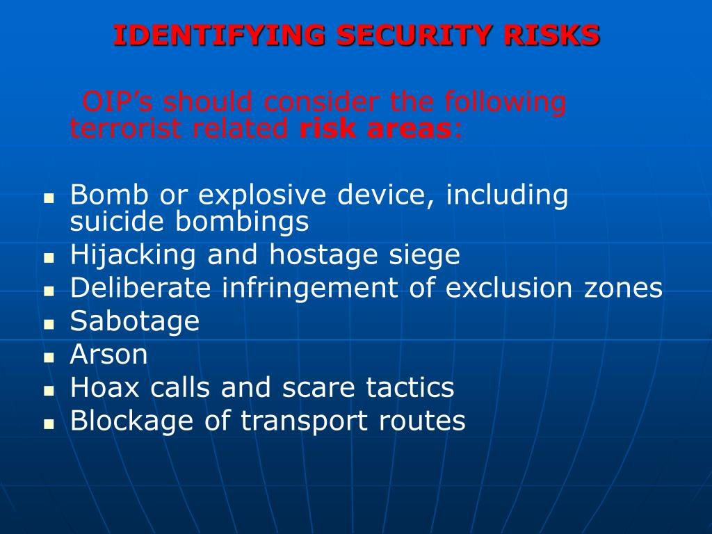 IDENTIFYING SECURITY RISKS