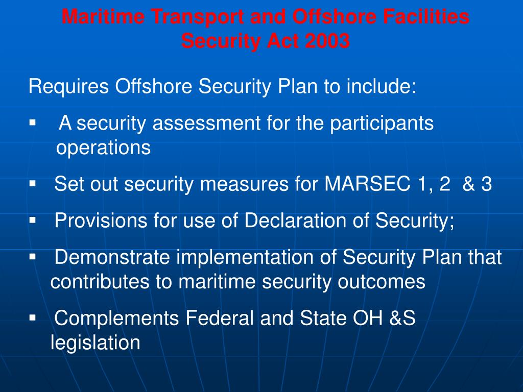 Maritime Transport and Offshore Facilities Security Act 2003