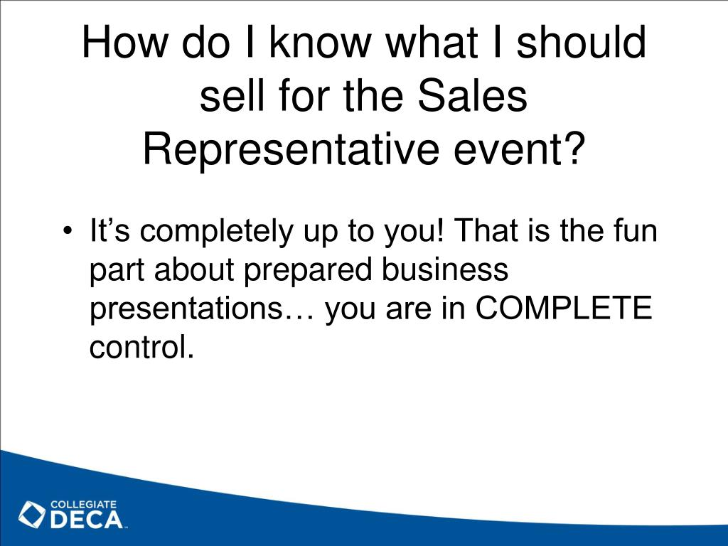 How do I know what I should sell for the Sales Representative event?