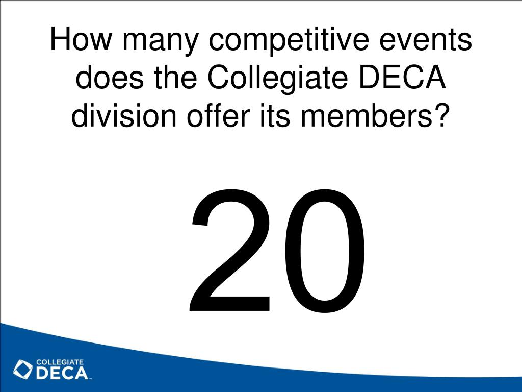 How many competitive events does the Collegiate DECA division offer its members?