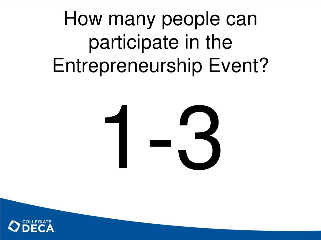 How many people can participate in the Entrepreneurship Event?