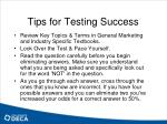 tips for testing success